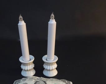Vintage Lot of 2 Vintage Candlestick Holders White Ceramic Made In W Germany by Funny Designs Co. 2 Inches X 1 And 1/4 Inches No Candles
