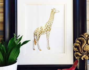 Giraffe Gift, Gold Foil Art Print, Home Decor, African Animals, Safari Theme Nursery