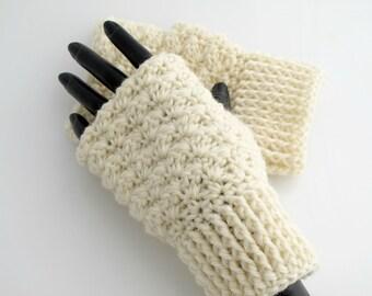 Crocheted Fingerless Wool Gloves. Ivory. Mittens.