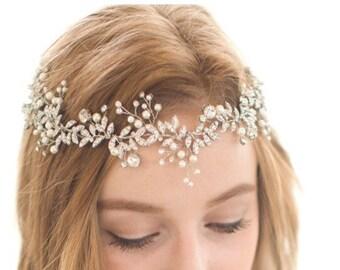 24 HR Sale! Bridal Vine, Bridal Wreath, Silver Leaf Vine, Rhinestone Vine, Gold Leaf Vine, Pearl Vine, Bridal Headpiece, Bridal Headband