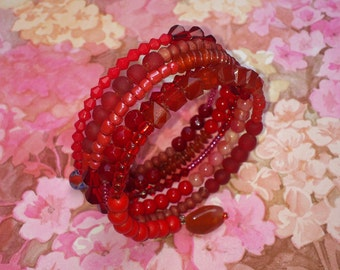 Red Memory Wire Bracelet - Wrap Around, Stacked Coils Bangle with Mixed Beads in Shades of Red - Hot, Summery, Spicy, Warm, Boho, Folk