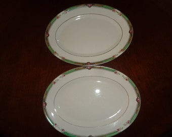 Amazing Vintage Homer Laughlin Pair Platters with Pink Roses