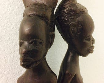 Hand Carved African Figurines, Tribal Decor, Made in Malawi, African Man Woman Wall Art