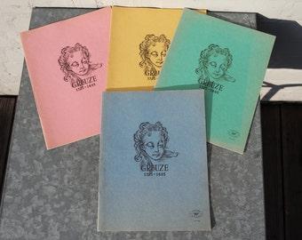 Lot of 4 vintage copybooks/french vintage school