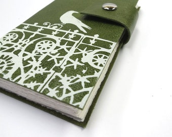 Green Leather Journal-pocket size Sketchbook-blank Notebook-Travel Journal-Daily Diary-Personalized Journal-paper goods-hand bound journal