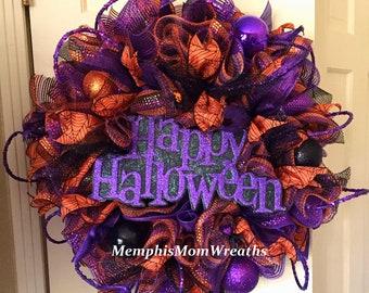 Happy Halloween Deco Mesh Wreath - Deco Mesh Wreath - Halloween Wreath