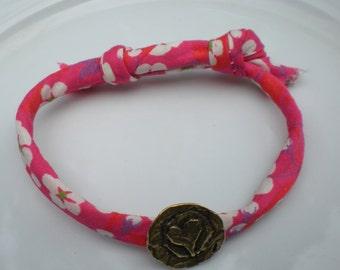 Handmade Liberty Print Fabric Adjustable Bracelet with Pure Bronze Heart Button
