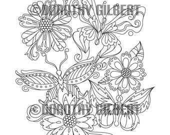 Printable Coloring Book Pages - Mandalas Nature And Patterns For Adults And Children - Instant Download