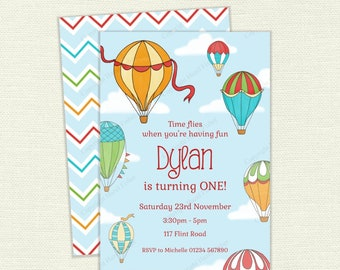 Hot Air Balloon Invitation - personalised printable party invite for birthday parties or baby showers, first birthday - digital IN016