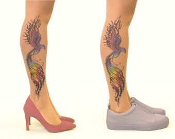 FREE SHIPPING: Tattoo Tights/Pantyhose with Firebird