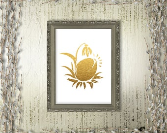 Easter Printable Art Gold Paschal Egg Snowdrop Home Decor Holiday Decorations Spring Nursery Digital Art / INSTANT DOWNLOAD