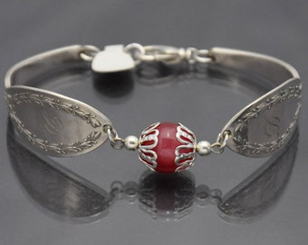 Diana 1910 with Red Bead Vintage Silverware Bracelet Monogramed with Letter D