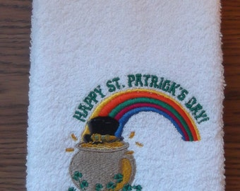 Embroidered ~POT of GOLD~ St Patricks Day Kitchen Bath Hand Towel