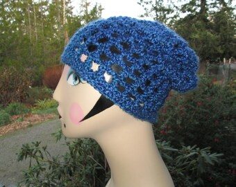 Blue Souchy Hat Crocheted by SuzannesStitches, Chunky Slouchy Hat, Childrens Slouchy Hat, Teen Slouchy Hat, Mens Slouchy Hat, Womens Slouchy
