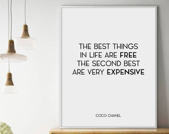 Sale!!! Coco Chanel Poster, Coco Chanel Quote, Fashion Quotes, Chanel Wall Art, Coco Chanel Wall Art, Fashion Home Decor