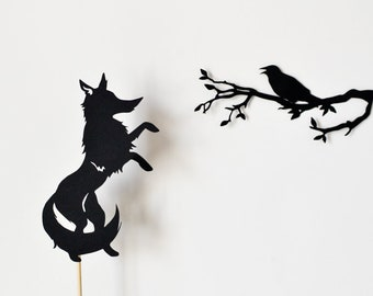 Fox and Crow Shadow Puppet Set
