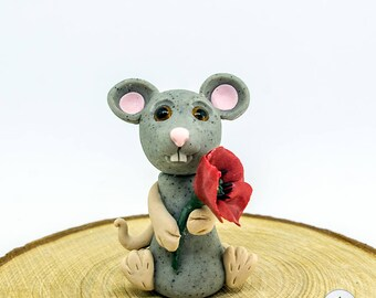 Polymer Clay Mouse with poppy