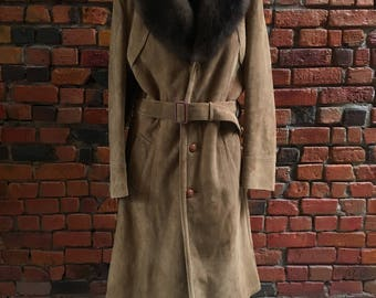 Vintage Suede Coat with Fur Collar Leather Brown with Waist Tie and Buttons 1623