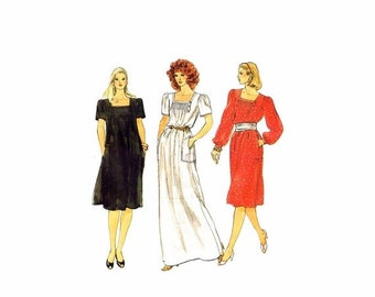 SALE 1980s Misses Pullover Aline Dress Vogue 8297 Vintage Sewing Pattern Size 10 Bust 32 1/2 UNCUT