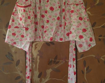 70s pink and red roses apron