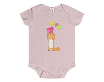 Onesie FOXY With Heart Balloons Infant Baby Shower Present Gift