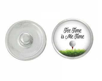 Tee Time is Me Time Golf Snap Pair with our Base Pieces - Compatiable with GingerSnaps and Magnolia and Vine Pieces - HandPressed Snaps