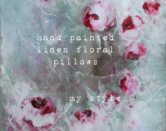 online class  linen floral painting pillow  karen milstein