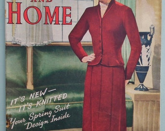 Vintage 40s 50s Women's Magazine - Wife and Home Feb 1950 - women's suit knitting pattern - advertisements - crochet pattern baby jacket