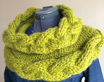 Super Chunky Wool Blend Hand Knit Green Cowl/Shrug - Infinity Scarf