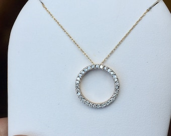 """14k yellow gold diamond circle pendant with 18"""" rope chain"""