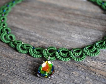 Hand Tatted Envy Necklace with Rainbow Pendant
