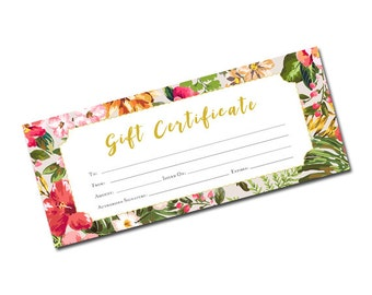 Tropical gift certificate, Gift Certificate Printable, Gift Certificate, Gift Certificate Download,mother gift,Printable Gift,Floral,Flowers