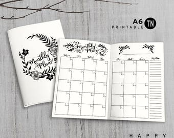Printable A6 Insert - A6 Traveler's Notebook Insert - A6 monthly insert, Monthly Traveler's Notebook Insert - Leaves