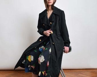 1960s Black Trench Coat in Taffeta 60s Vintage Overcoat XS S M L