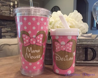 Personalized pink and gold Minnie Mouse kids cup with a lid and straw - Blue and gold Minnie Mouse personalized cups - Minnie Mouse kids cup