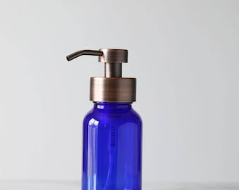 Apothecary Blue Glass Foaming Soap Dispenser with Copper Metal Pump