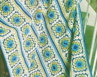 Vintage Crochet Flowers Cornflowers Granny Squares Afghan PDF Instant Digital Download Retro Green Blue Floral Blanket 50x70 10 Ply