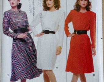 Vintage Sewing Pattern, Butterick 6663, 80s Wrap Dress, Wrap Dress Sewing Pattern, 1980s Dress Sewing Pattern, Long Sleeve Dress, XS Small