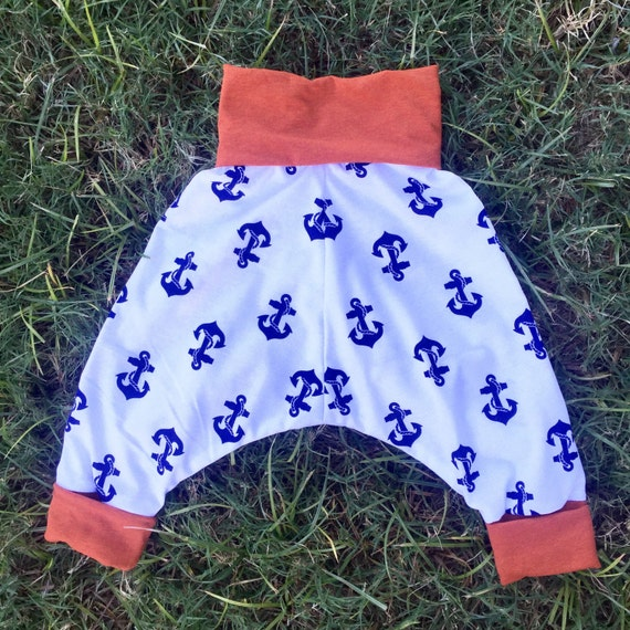 Childrens unisex anchor harem pants (size 6 months to 4 years)