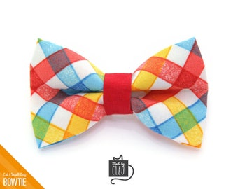 """Plaid Cat Bow Tie - """"Pacific"""" - Spring Cat Collar Bow Tie / Summer / Kitten Bow Tie / Small Dog Bow Tie - Removable (One Size)"""