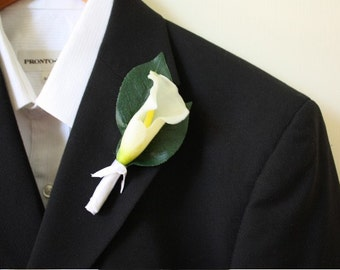 White Real Touch Calla Lily Boutonniere Buttonhole