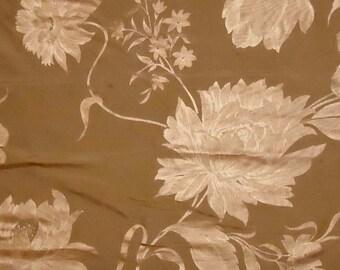 "Brass Gold with Metallic Florals - Silk Dupioni Fabric Square - 24"" x 26"""
