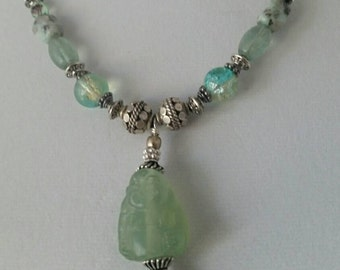 Vintage necklace - Upcycled jewelry - Green jade necklace - Buddha necklace - Jade Buddha necklace - Chinese New Year - Jade necklace