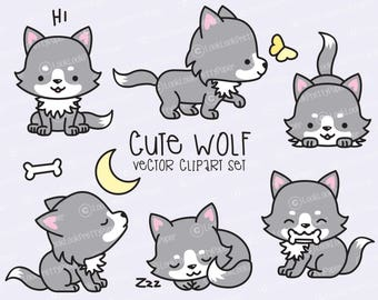 Premium Vector Clipart - Kawaii Wolf - Cute Wolves Clipart Set - High Quality Vectors - Instant Download - Kawaii Clipart