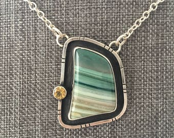 Handmade Sterling Silver Jewelry - Saturn Chalcedony Pendant Chain - Necklace - Sterling Silver Necklace with Stone