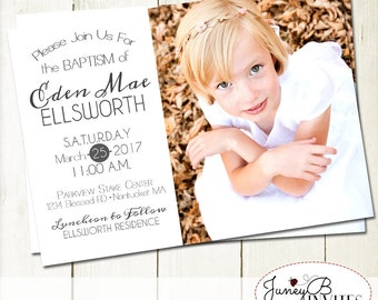 LDS Girl Baptism Invitation, Girl Baptism Invitation with Picture, LDS Baptism Invitation, Modern Baptism Invitation