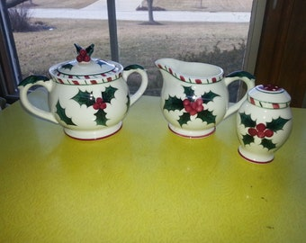 "Vintage 1950s Lefton Japan ""Candy Cane and Holly"" Creamer, Sugar Bowl and Pepper Shaker LOT"