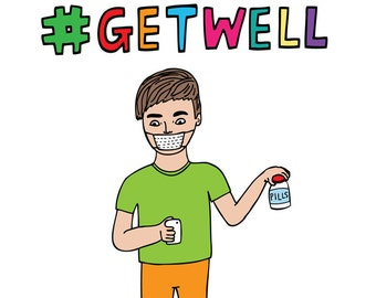 Get Well Soon Card - #Hashtag Get Well