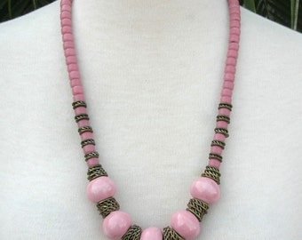 Pretty in Pink, pastel necklace, large pink ceramic beads, pink glass beads, brass spacers, vintage pink necklace