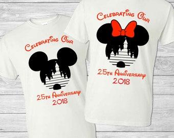 Disney Anniversary Couples Shirts - Custom Disney Family Shirts - Personalized Anniversary Gift - Disney World - Mickey - Minnie